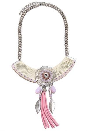 Колье Boho Chic. Цвет: молочный, розовый, серебряный