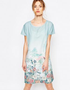 Uttam Boutique Платье-туника с принтом реки. Цвет: синий