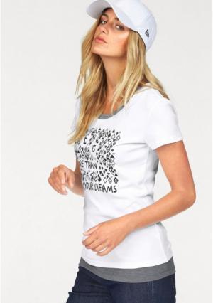 Комплект: футболка + топ Flashlights. Цвет: белый с рисунком+серый меланжевый