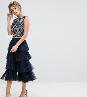 Lace and Beads Юбка-брюки из тюля &. Цвет: темно-синий