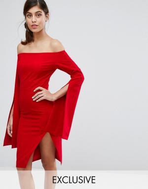 Dark Pink Платье миди со свободными рукавами и разрезом. Цвет: красный
