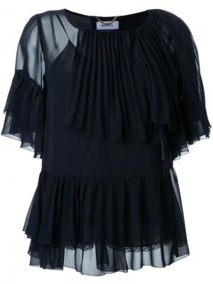 Многослойная блузка с оборками Muveil. Цвет: синий