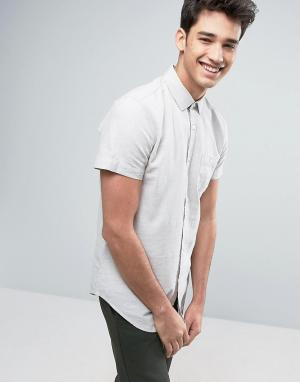 Threadbare Рубашка из хлопка и льна с короткими рукавами. Цвет: светло-бежевый