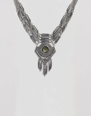 ASOS Броское ожерелье-воротник с искусственным агатом DESIGN. Цвет: серебряный