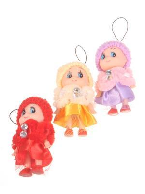 Брелок - подвеска Куколка в шапочке и манто, фиолетово-желто-красный, набор 3 шт Радужки. Цвет: зеленый, красный
