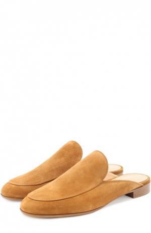 Замшевые сабо Marcel с прострочкой Gianvito Rossi. Цвет: светло-коричневый