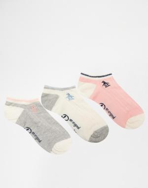 Penguin Комплект из 3 пар спортивных носков с косами. Цвет: серый