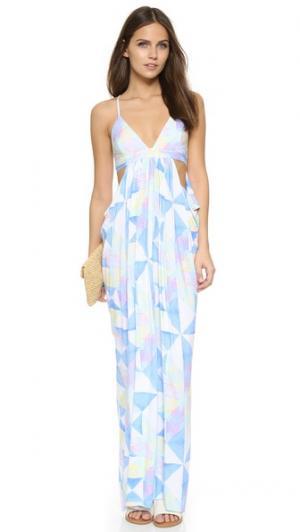 Платье Fractals Turquoise с драпировкой Mara Hoffman. Цвет: белый мульти