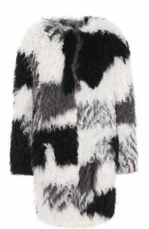 Шуба из овчины с круглым вырезом Armani Collezioni. Цвет: черно-белый