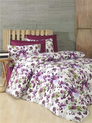 Комплект постельного белья KALINA сатин, 200ТС, 100% хлопок, евро ISSIMO Home. Цвет: бордовый