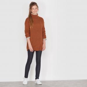 Пуловер с высоким воротником, 10-16 лет R édition. Цвет: темно-бежевый
