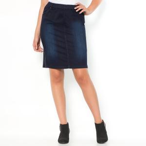 Юбка джинсовая прямая CASTALUNA. Цвет: серый потертый деним