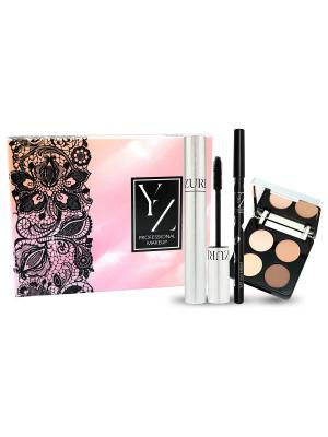 Подарочный набор YZ (тушь+карндаш для глаз+тени век) ИЛЛОЗУР. Цвет: черный, бежевый, коричневый, кремовый