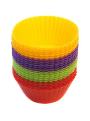 Силиконовые формы для маффинов, 24 шт DiMi. Цвет: желтый, зеленый, фиолетовый