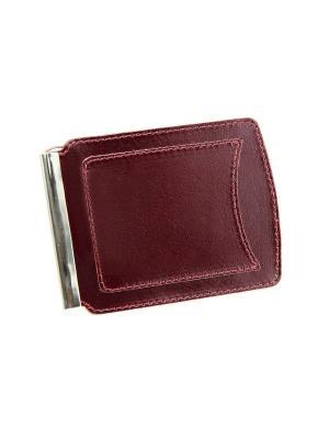 Денежный зажим с карманом Вектор. Цвет: бордовый