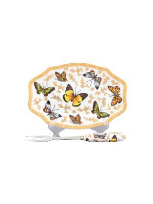 Тарелочка под лимон Бабочки Elan Gallery. Цвет: белый, желтый, золотистый