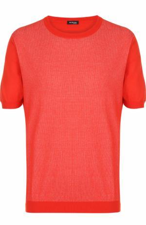 Хлопковый джемпер тонкой вязки с короткими рукавами Kiton. Цвет: красный