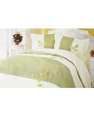 Комплект постельного белья с вышивкой 3 предмета HAMRAN. Цвет: белый, салатовый