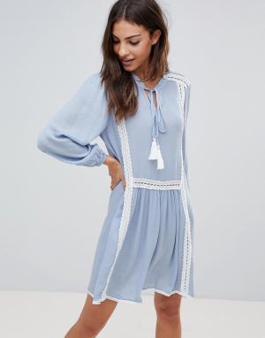 The English Factory Свободное платье с длинными рукавами и кружевной отделкой. Цвет: синий