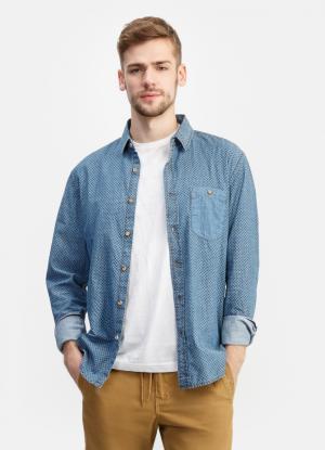 Джинсовая рубашка с принтом OSTIN