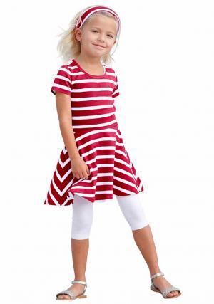 Комплект: платье + повязка на голову легинсы Otto. Цвет: красный