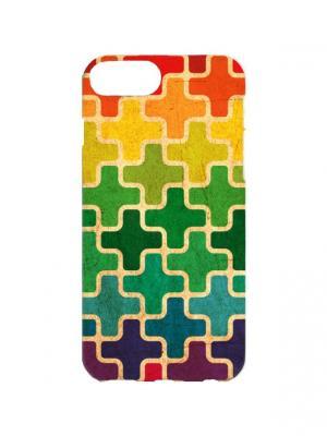 Чехол для iPhone 7Plus Пиксели Арт. 7Plus-011 Chocopony. Цвет: зеленый, желтый, красный