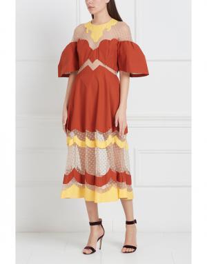 Платье с контрастными элементами Tata Naka. Цвет: терракотовый, желтый