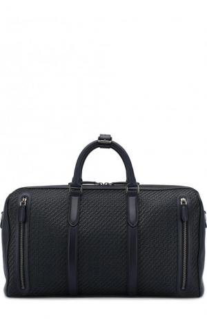 Кожаная дорожная сумка с плечевым ремнем Ermenegildo Zegna. Цвет: темно-синий