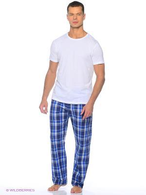 Домашние брюки YC COTTON. Цвет: синий