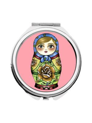 Зеркальце карманное Матрешка в голубом платке Chocopony. Цвет: бордовый, голубой, розовый