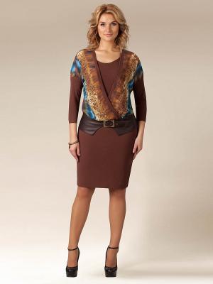 Платье Amelia Lux. Цвет: коричневый, горчичный