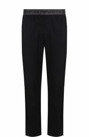 Хлопковые домашние брюки с поясом на резинке Emporio Armani. Цвет: черный