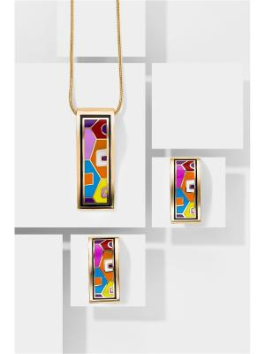 Набор украшений Город Солнца: цепочка с кулоном и серьги Nothing but Love. Цвет: розовый, оранжевый, синий