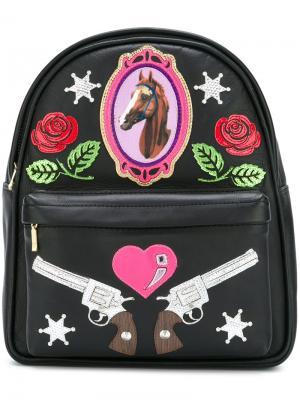 Мини-рюкзак с заплатками Manish Arora. Цвет: чёрный