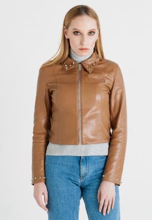 Куртка кожаная UNNA. Цвет: коричневый