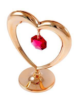 Фигурка декоративная Сердечко CRYSTOCRAFT. Цвет: золотистый, красный