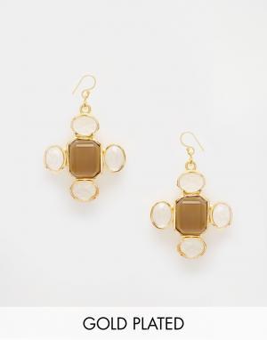 Taara Jewellery Серьги с покрытием из 22-каратного золота. Цвет: дымчатый кварц