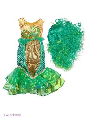 Карнавальный костюм Русалочка Батик. Цвет: зеленый, темно-зеленый, светло-зеленый