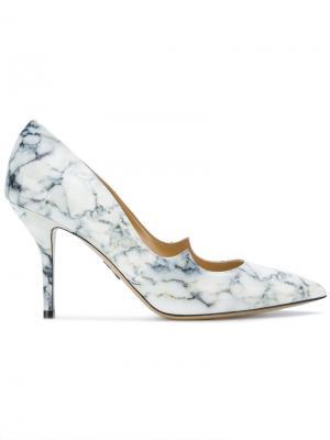 Туфли-лодочки с мраморным принтом Paul Andrew. Цвет: белый