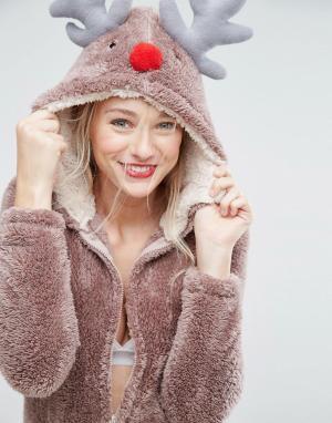 Loungeable Новогодний комбинезон олень. Цвет: коричневый