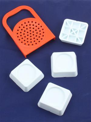 Крышка для слива с ручкой и подставки антивибрационные стиральных машин холодильников Радужки. Цвет: красный, белый