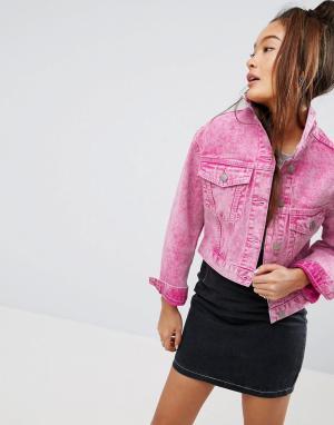 ASOS Выбеленная розовая джинсовая куртка. Цвет: розовый
