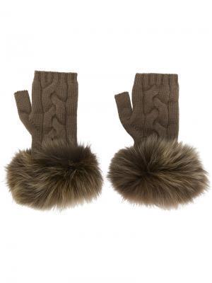 Перчатки-митенки Yves Salomon. Цвет: коричневый
