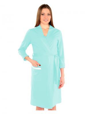 Платье-халат  с кружевом Ням-Ням. Цвет: бирюзовый