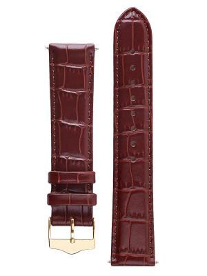 Классический ремешок для часов из кожи теленка с фактурой под аллигатора. Ширина 20 мм Signature. Цвет: темно-коричневый