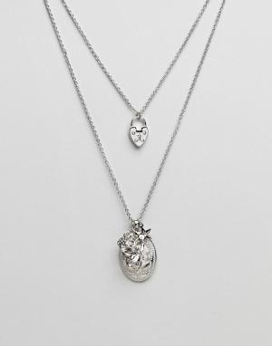 ASOS Ярусное ожерелье в винтажном стиле с подвесками. Цвет: серебряный