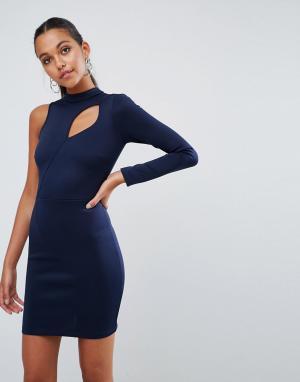 ASOS Платье мини на одно плечо с длинным рукавом и декоративным вырезом ASO. Цвет: темно-синий