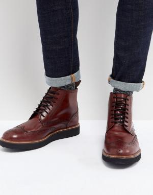 Dead Vintage Бордовые кожаные ботинки-броги. Цвет: красный