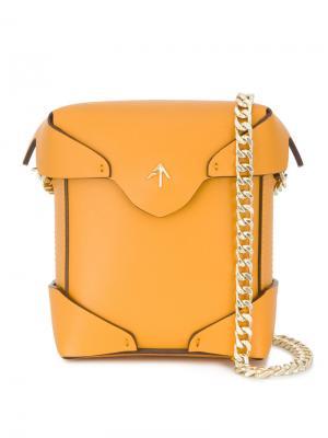 Желтая квадратная микро-сумка Pristine Manu Atelier. Цвет: жёлтый и оранжевый