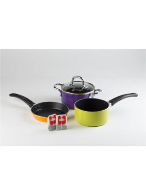 Набор посуды NEUSS MINI Koch Systeme. Цвет: темно-фиолетовый, коралловый, салатовый